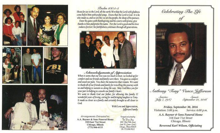 Anthony Vance Jefferson Obituary