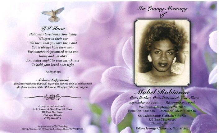 Mabel Robinson Obituary