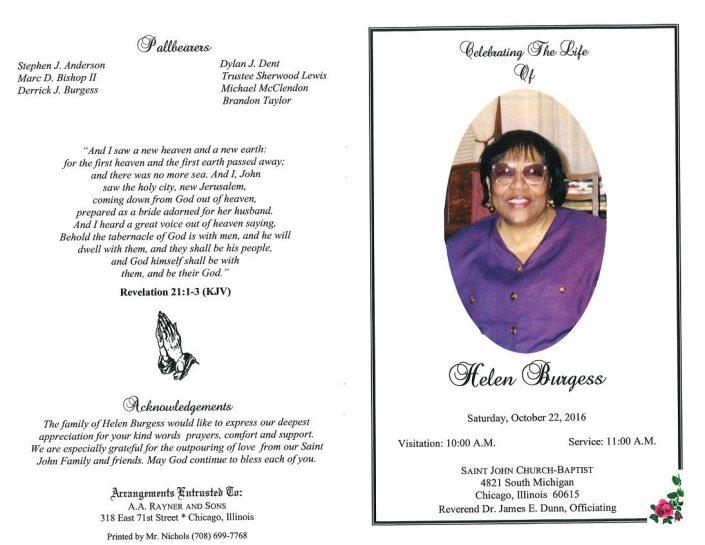 Helen Burgess Obituary