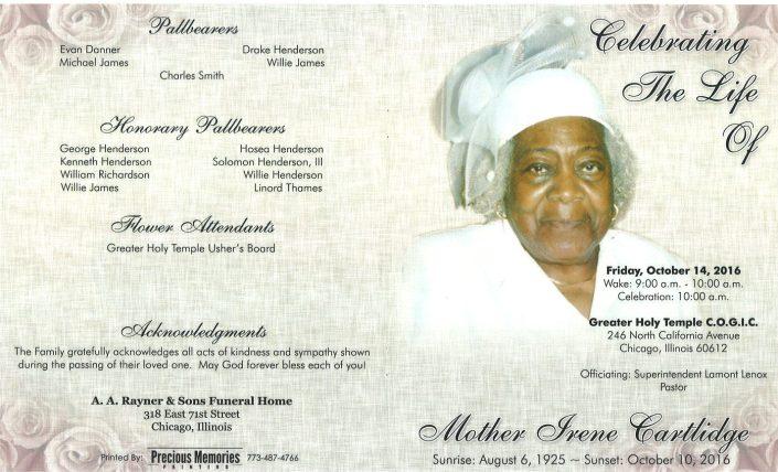Mother Irene Cartlidge obituary