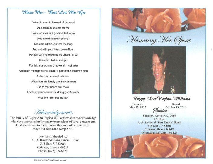 Peggy Ann Regina Williams Obituary