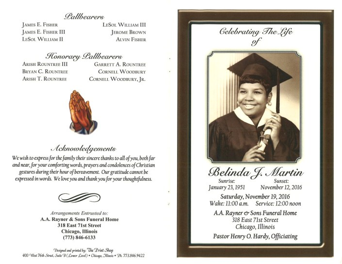 Belinda J Martin Obituary From Funeral Services at AA Rayner and Sons Funeral Home in Chicago Illinois