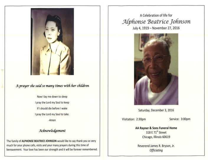 Alphonse Beatrice Johnson Obituary