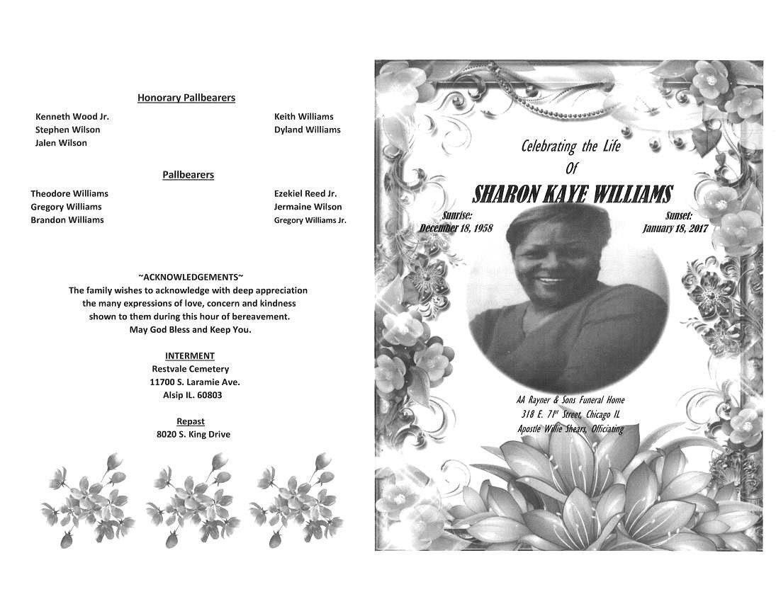 Sharon Kaye Williams Obituary | AA Rayner and Sons Funeral Home