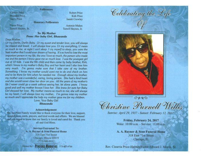 Christine Purnell Willis OBituary