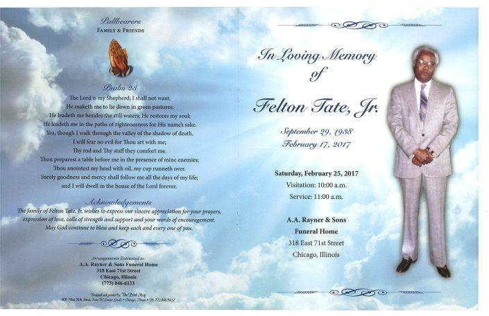 Felton Tate Jr Obituary