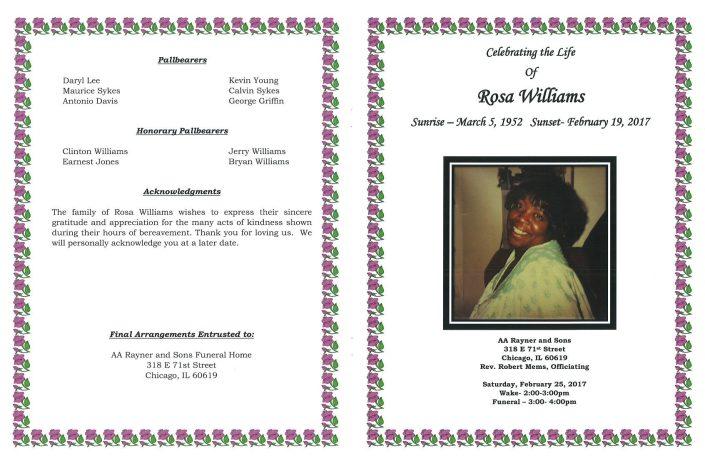 Rosa Williams Obituary