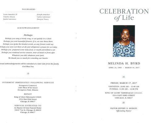 Melinda H Byrd Obituary