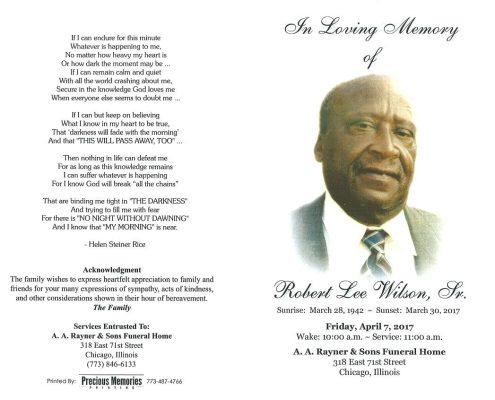 Robert Lee Wilson Sr Obituary