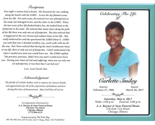 Carlette Smiley Obituary AA rayner and sons obituary