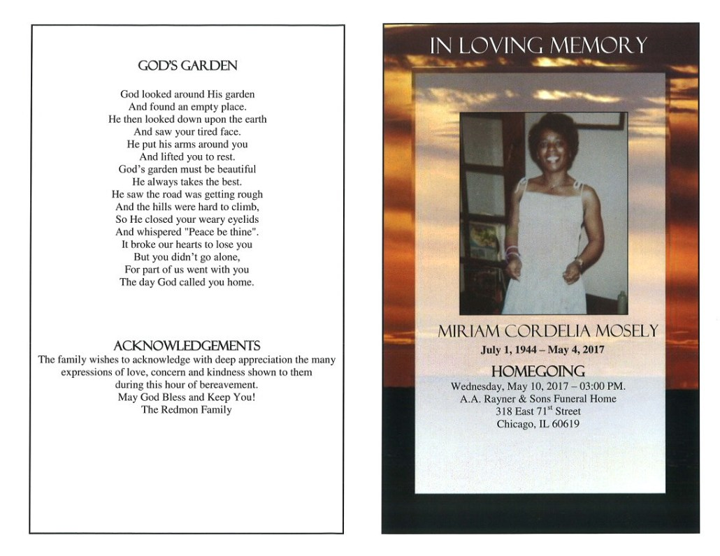 Miriam Cordella Mosely OBituary