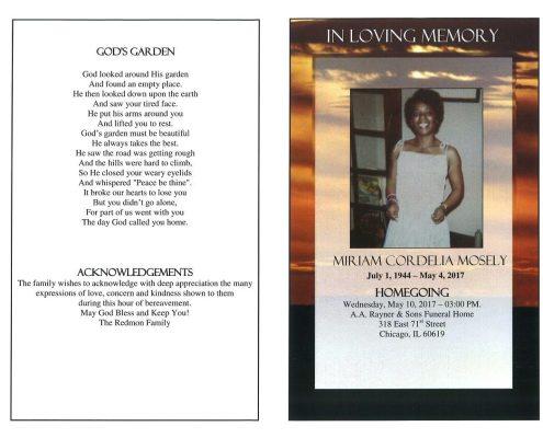 Miriam Cordella Mosely OBituary
