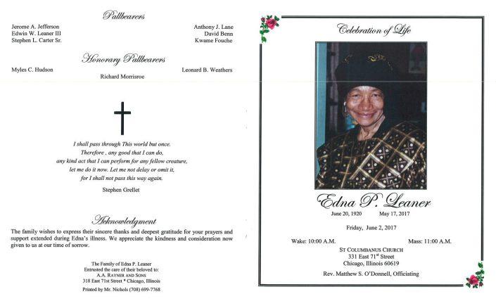 Edna P Leaner Obituary