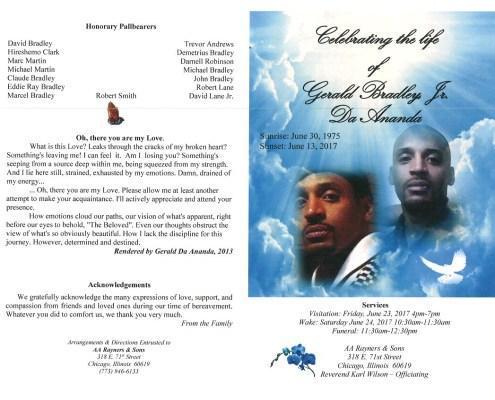 Gerald Bradley Jr Da Ananda Obituary