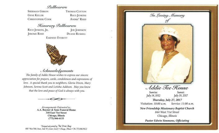 Addie Tee House Obituary
