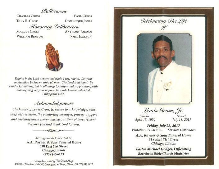 Lewis Cross Jr Obituary