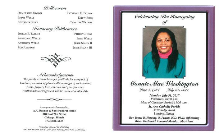 Connie Mae Washington Obituary
