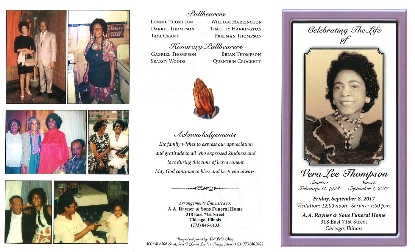 Vera Lee Thompson Obituary | AA Rayner and Sons Funeral Home