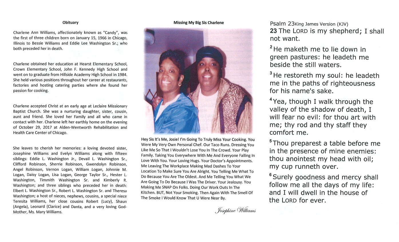 Charlene Williams Obituary | AA Rayner and Sons Funeral Home