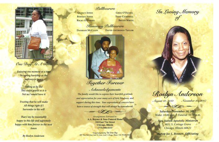 Roslyn Anderson Obituary AA Rayner