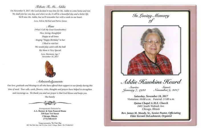 Addie Hawkins Heard Obituary