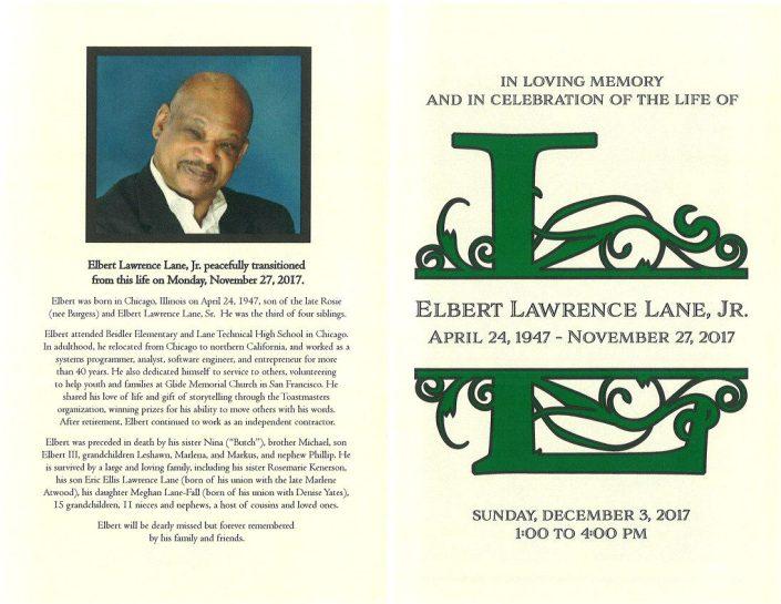 Elbert Lawrence Lane Jr Obituary