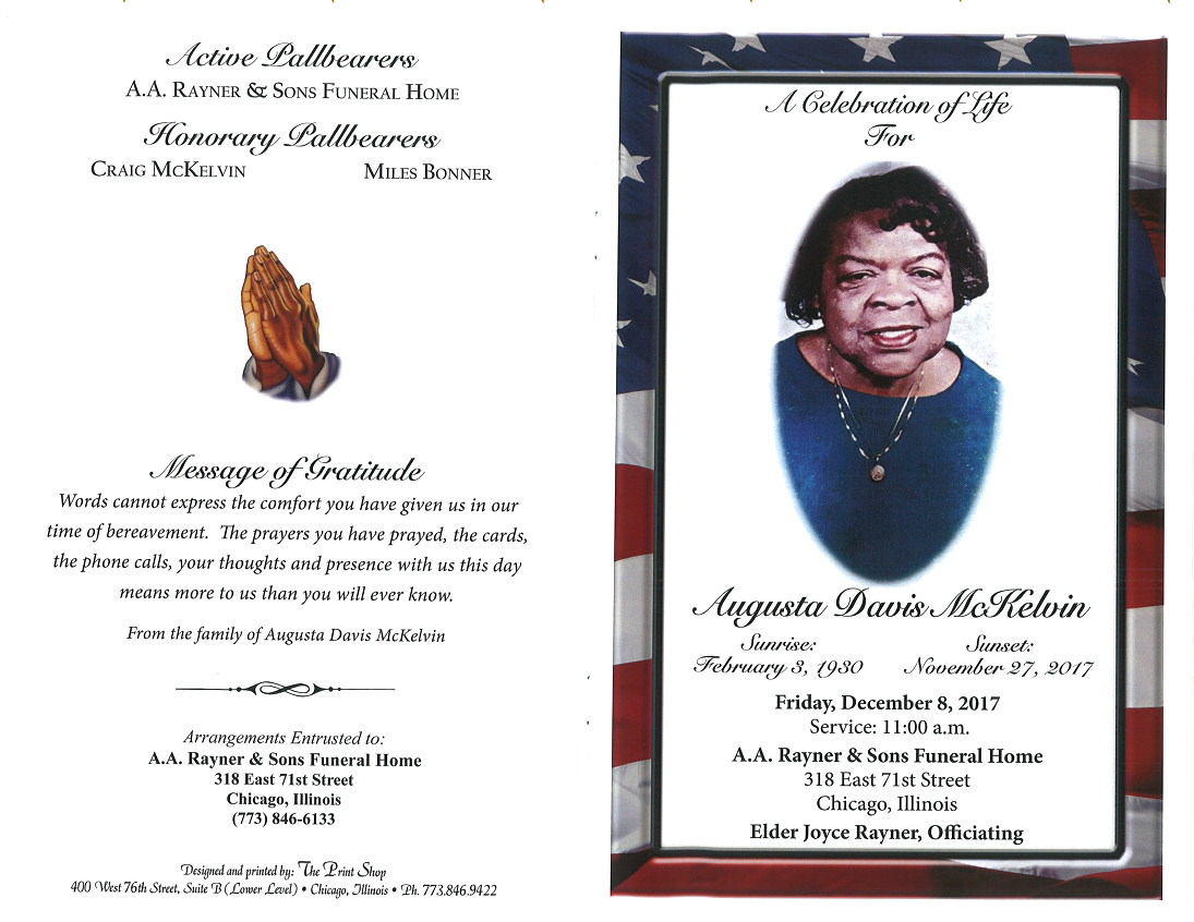 augusta davis mckelvin obituary aa rayner and sons funeral home
