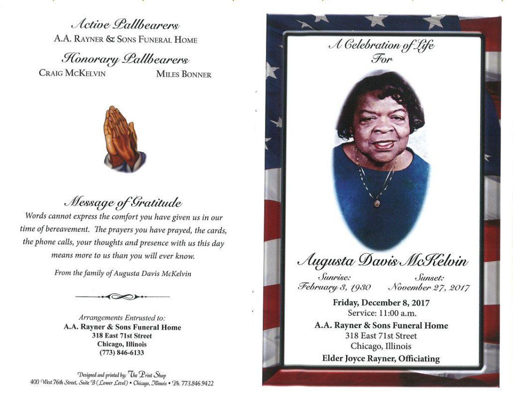 Augusta Davis Mckelvin Obituary