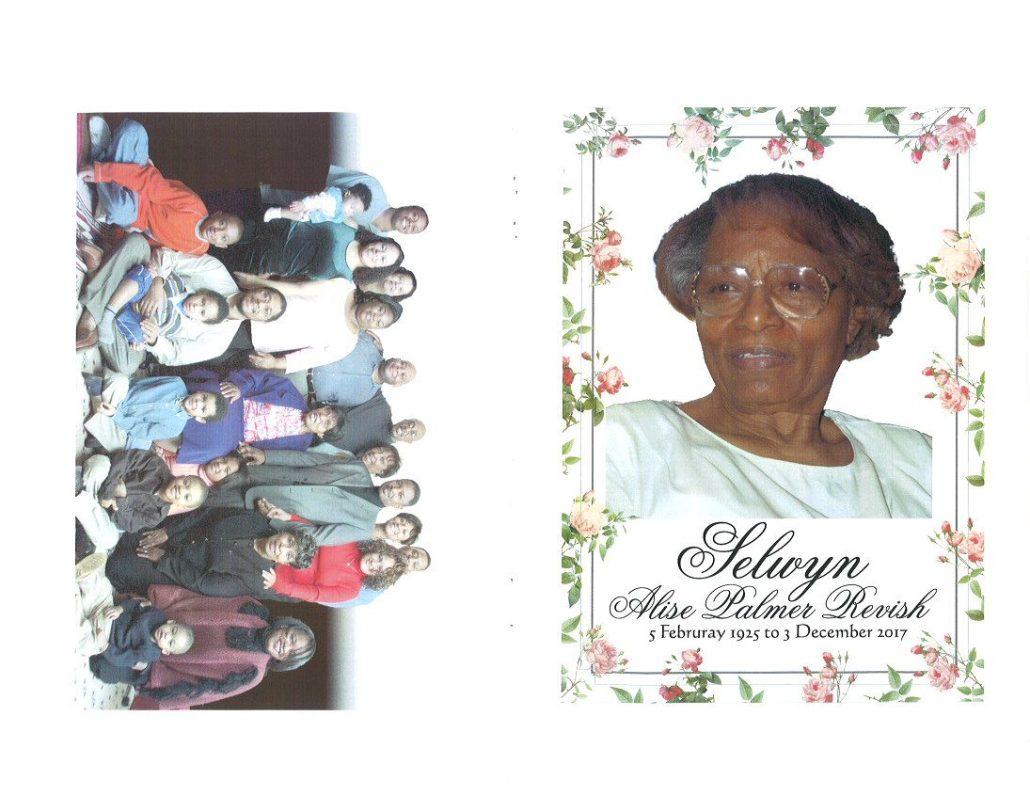 Selwyn Alise Palmer Revish Obituary