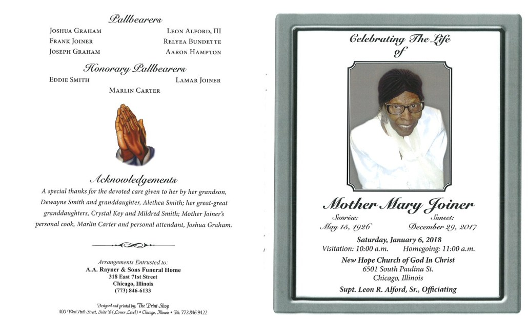 Mother Mary Joiner Obituary