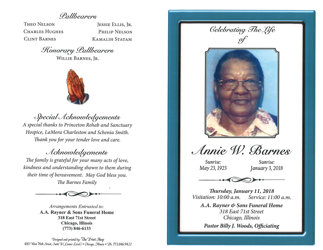 Annie W Barnes Obituary | AA Rayner and Sons Funeral Home
