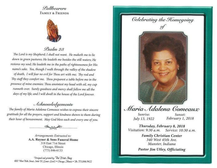 Maria Adalena Comeaux Obituary