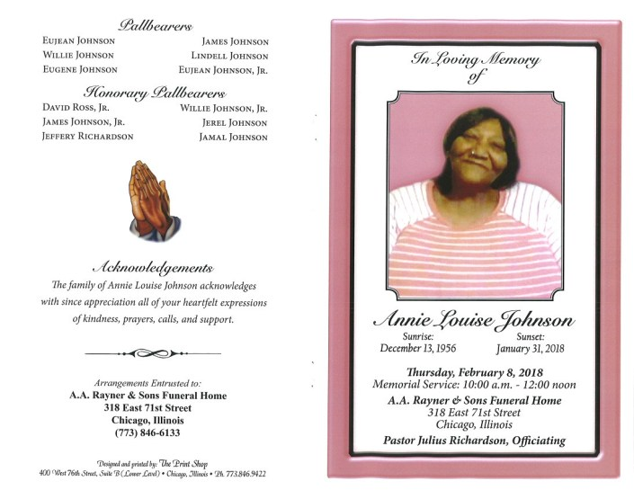 Annie Louise Johnson Obituary