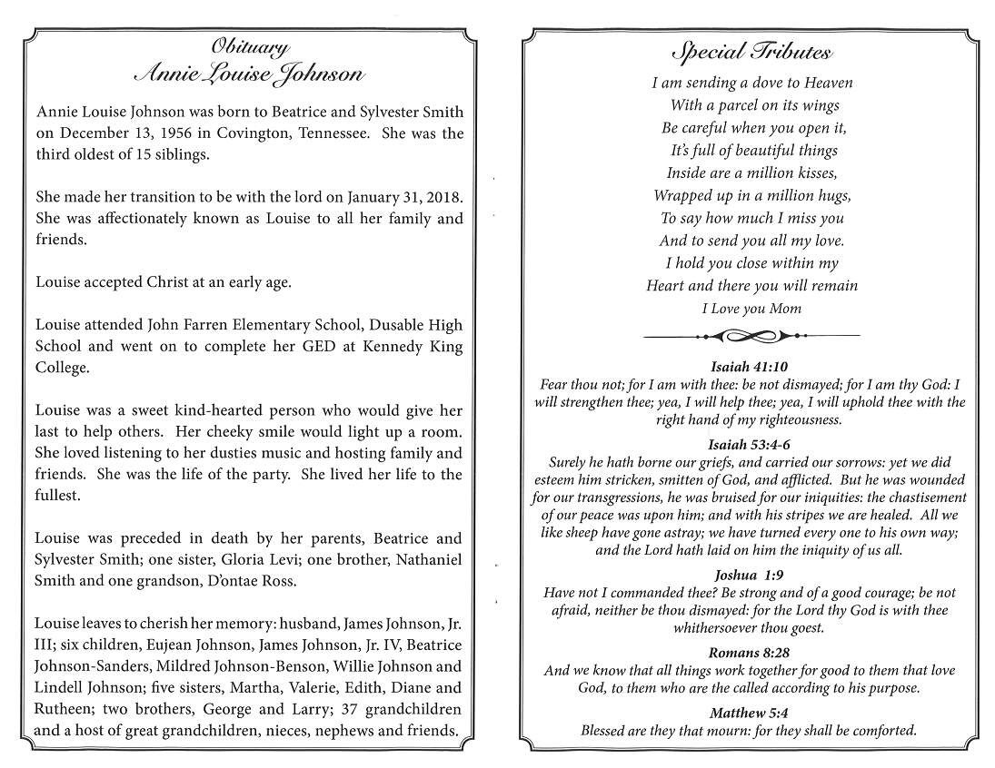 Annie Louise Johnson Obituary – AA Rayner and Sons Funeral Home
