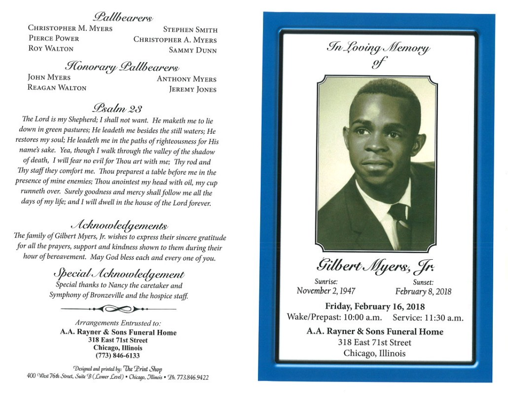 Gilbert Myers Jr Obituary