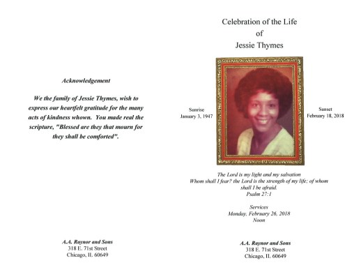 Jessie Thymes Obituary