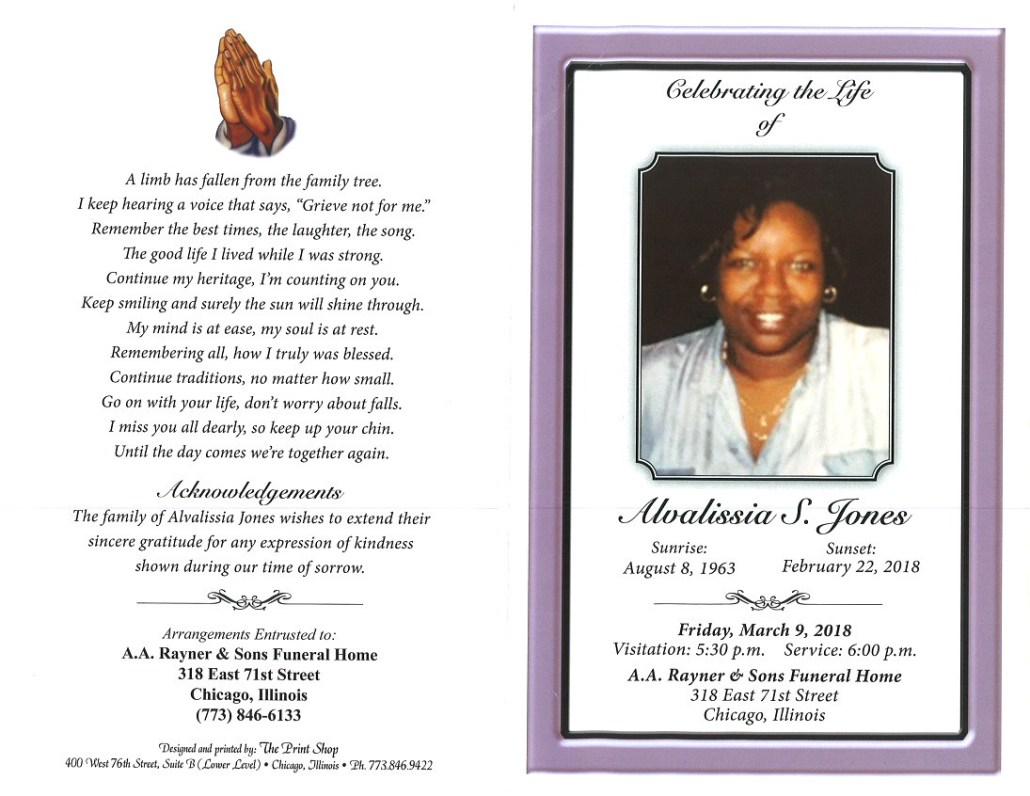 Alvalissia S Jones Obituary