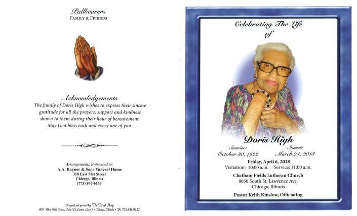 Doris High Obituary