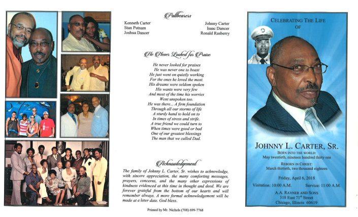 Johnny L Carter Sr obituary