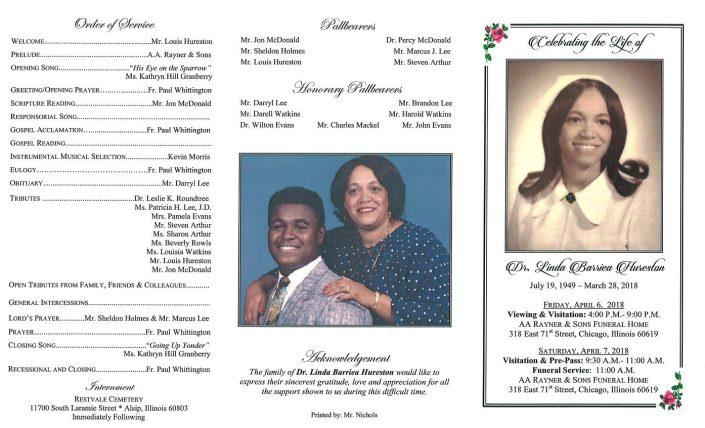 Dr Linda Barriea Hureston Obituary
