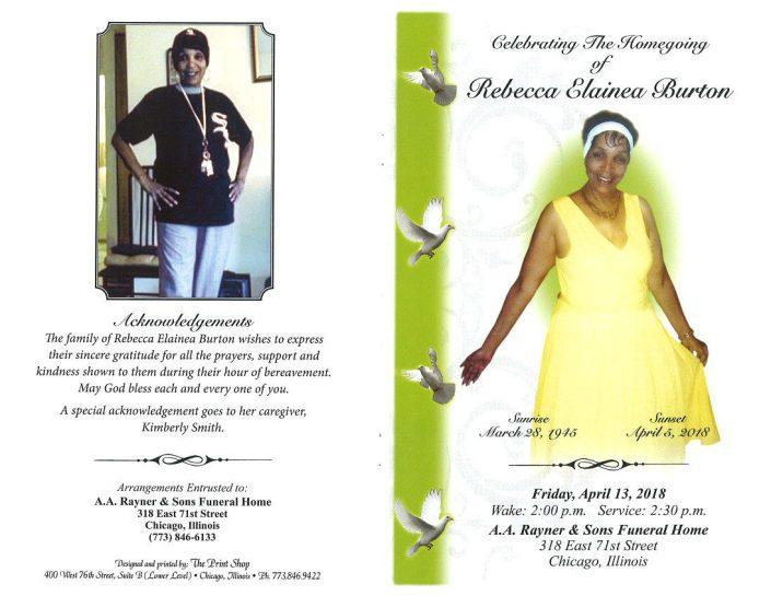 Rebecca Elainea Burton Obituary