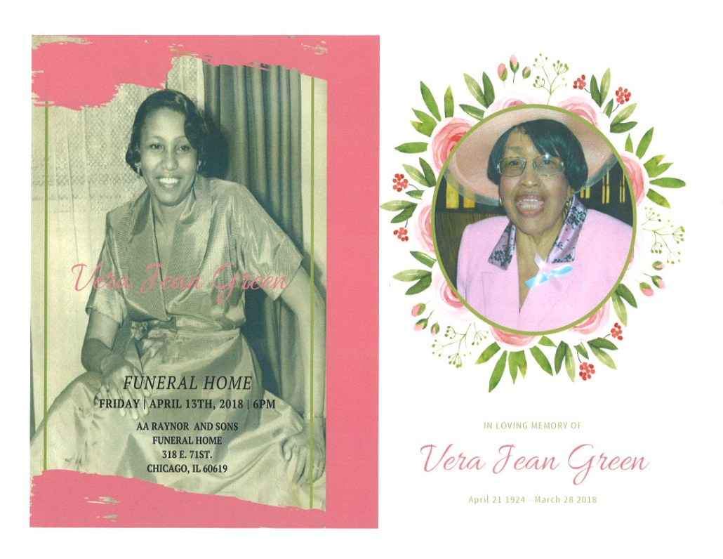 Vera Jean Green obituary AA rayner and sons funeral home chicago