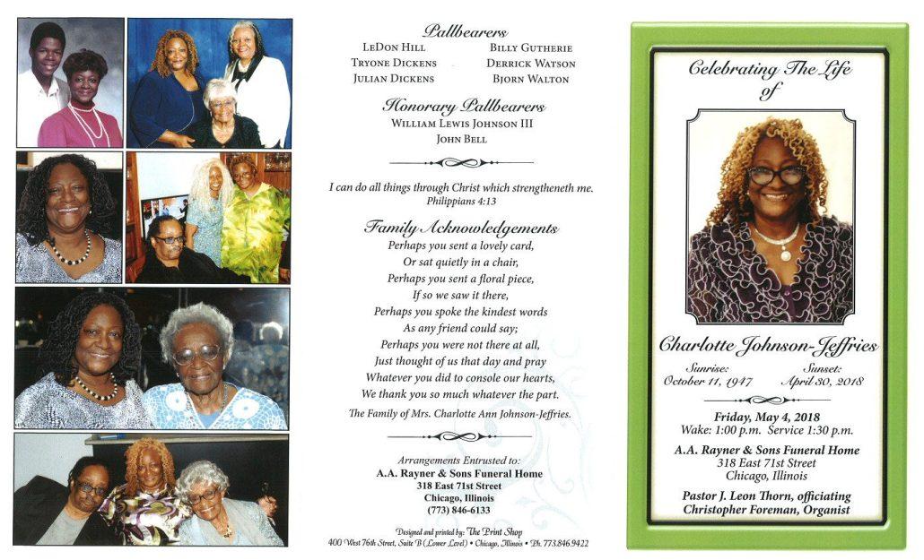 Charlotte Johnson Jeffriees Obituary