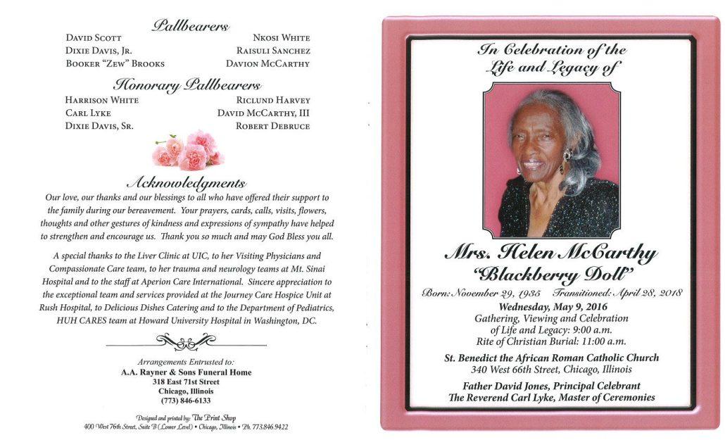 Mrs Helen McCarthy Obituary