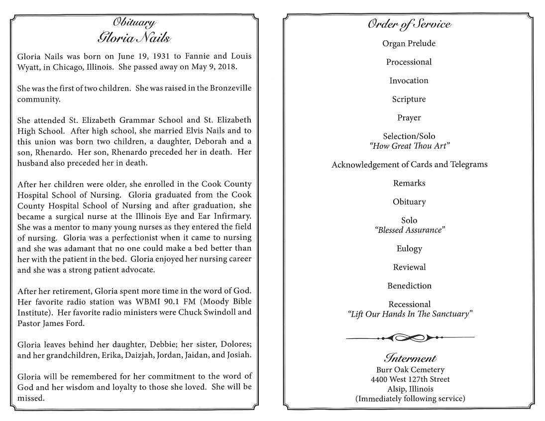 Gloria Nails Obituary – AA Rayner and Sons Funeral Home