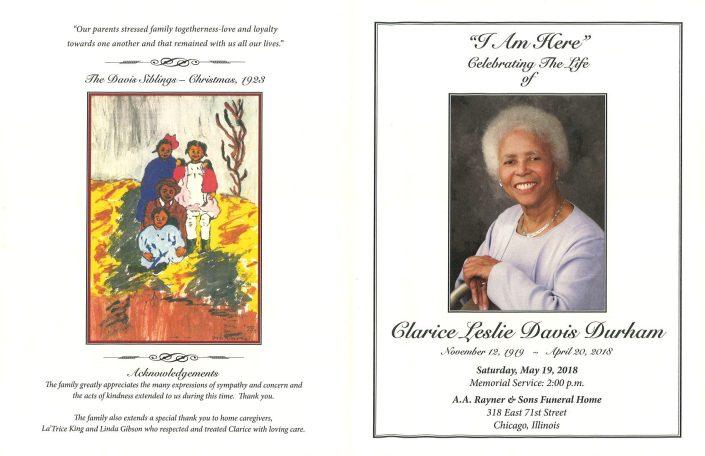 Clarice Leslie Davis Durham Obituary