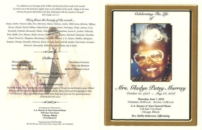 Mrs Gladys Patsy Murray Obituary
