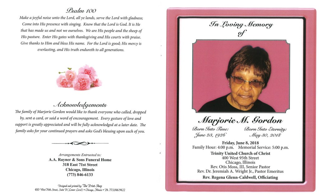 Marjorie M Gordon Obituary