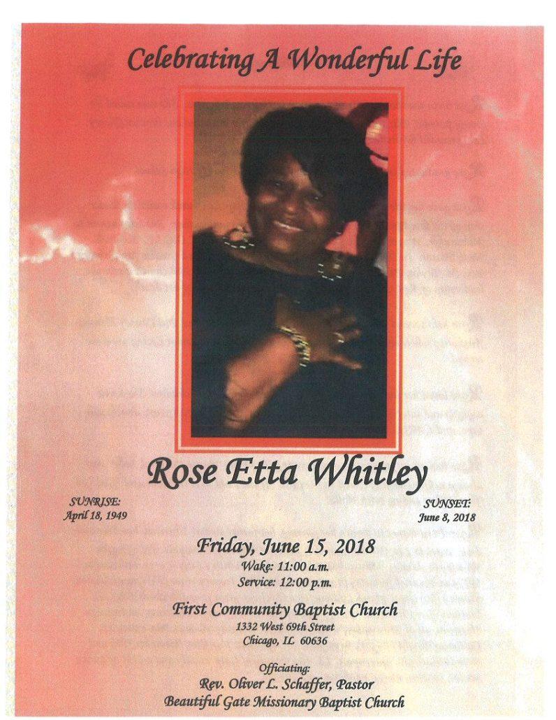 Rose Etta Whitley Obituary