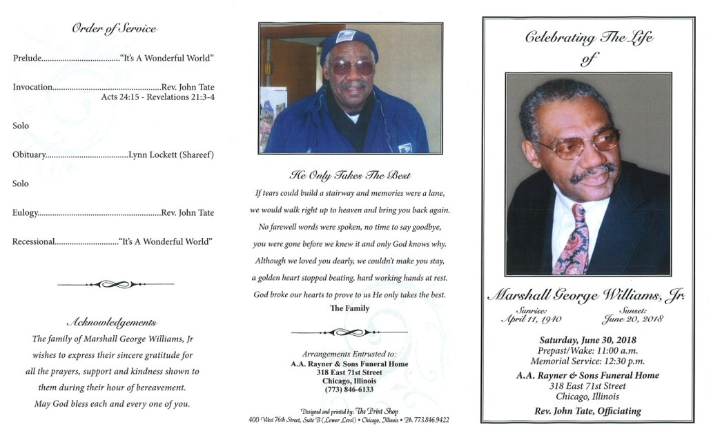 Marshall George Williams Jr Obituary